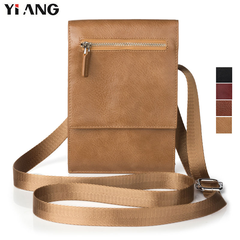 YIANG Fashion PU Leather Men Women Shoulder Bag Classic Brand Vintage Style Casual Messenger Bags Mobile Phone Crossbody