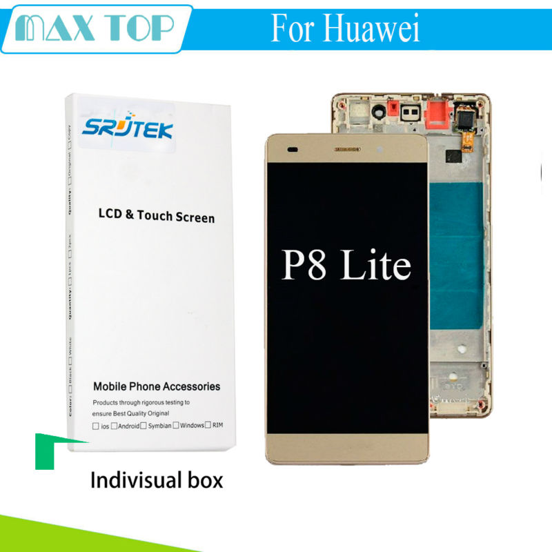 ФОТО For Huawei P8 Lite LCD Display+Touch Screen Digitizer Glass Panel + Frame Replacement for Huawei Ascend P8 Lite 5.0''