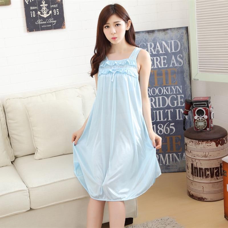 3969640e0 Longa camisola de seda camisola de verão para as mulheres plus size  senhoras lingerie vestes roupa de dormir de pijama sleepwear maternidade  roupas de ...