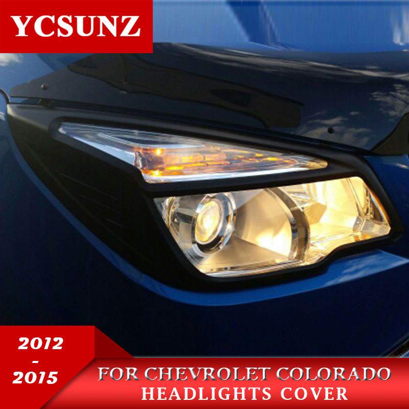 2012 2015 Black Headlights Cover For Chevrolet Colorado ABS Black Front Lamps Covers For Holden Chevy Colorado Kits Ycsunz