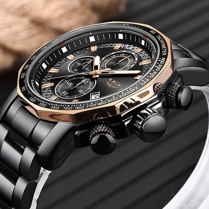 LIGE Luxury Men Watch Waterproof Chronograph Analogue Date Wrist Watch For Men Stainless Steel Quartz Watches Relogio Clock+Box