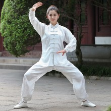 White Female Long Sleeve Wu Shu Kung Fu Suit Chinese Women's Satin Tai Chi Uniform Sets XXS XS S M L XL XXL XXXL 2526