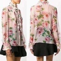 Романтический Сад коллекция Женская блузка шелк 100% женская блузка с принтом розы camisetas mujer супер милые оборки летний топ