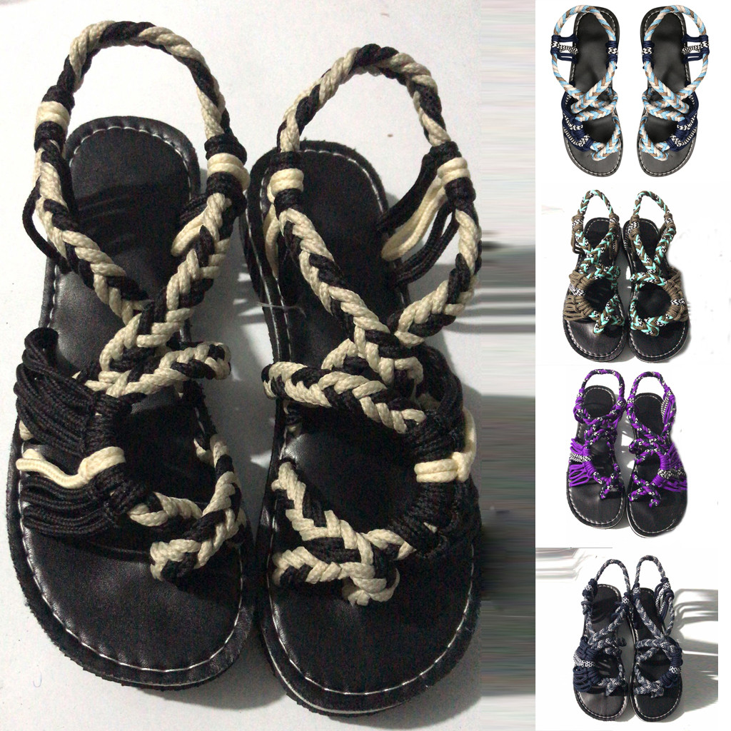 Sandals Summer Flip-Flops Slippers Flat-Shoes Female Roman Plus-Size Casual Beach Fashion