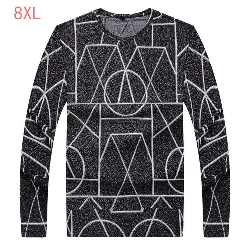plus Size 8XL 7XL 6XL 5XL New Fashion Brand Trend Print Slim Fit Long Sleeve Shirt Men Tee O-Neck Casual Men Shirt Cotton Shirts
