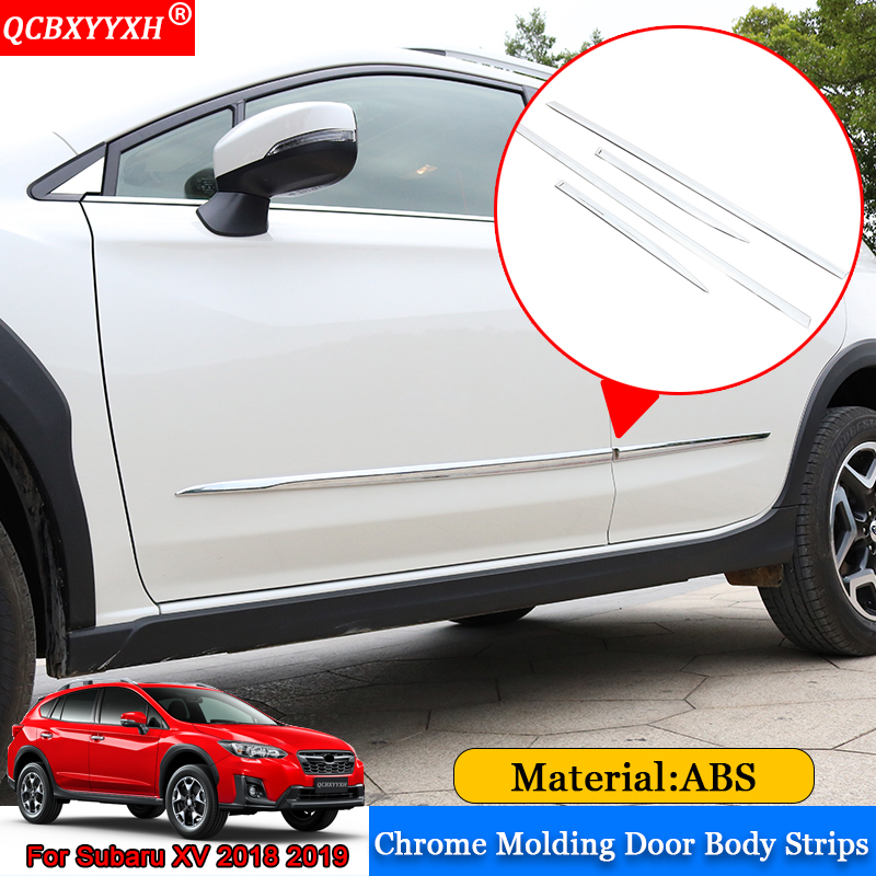 QCBXYYXH Car-styling ABS Chrome Molding Car Door Body Decoration Strips Sequins Auto Sticker Accessories For Subaru XV 2018 2019