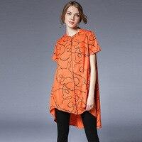 Graffiti High Low Cotton Shirt Women Short Sleeve Asymmetrical Printed Shirt Pop Plus Size L To