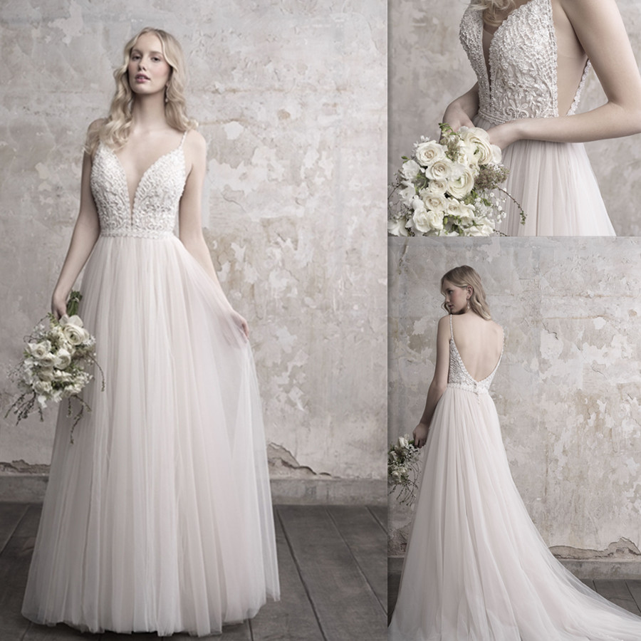 Gorgeous Pearls Beads Lace Applique Tulle V-neck Neckline Sweep Train Wedding Dress With Backless A-line Beads Spaghetti Straps