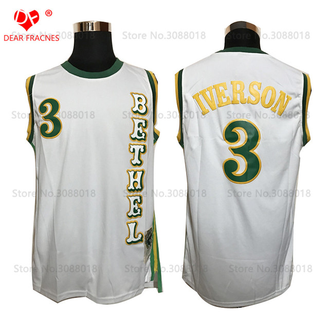 7df8a97ab976 Top Allen Iverson Jersey White Bethel High School Bruins Throwback  Basketball Jersey Vintage Retro Shirt For Men Stitched White
