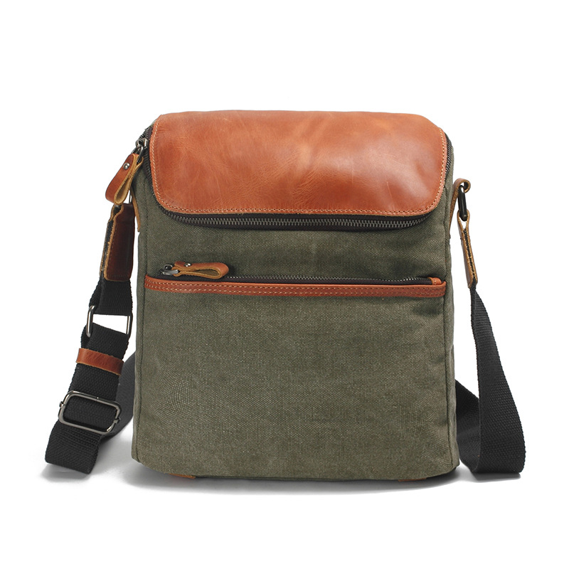 Fashion Canvas Leather Crossbody Bag Men Military Army Green Vintage Messenger Bags Large Shoulder Bag Casual Travel Bags G077