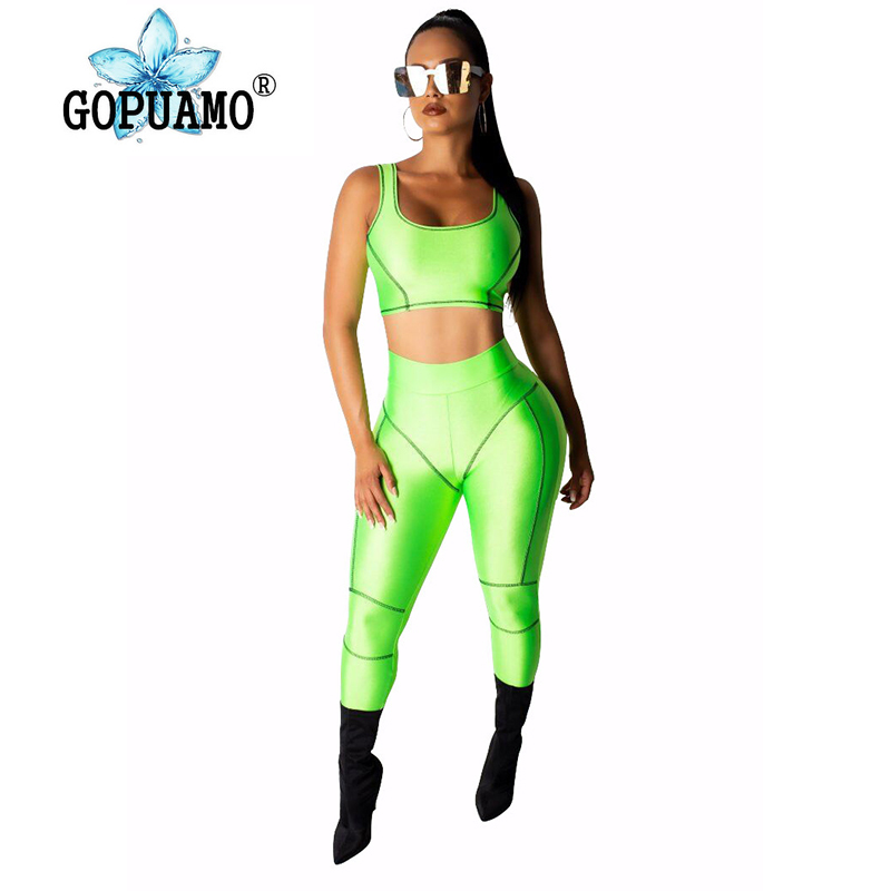 Neon Green Orange 2 Piece Outfits For Women Summer Tank Crop Top And Pencil Long Pant Sweatsuits Casual Two Piece Set Tracksuit