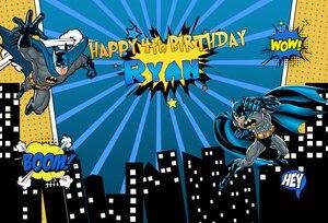 Image 2 - Batman Phông Nền cho Bé Trai Sơ Sinh Chụp Ảnh Nền Vinyl Tùy Chỉnh Siêu Anh Hùng Phông Nền Cho Studio Ảnh 7x5ft