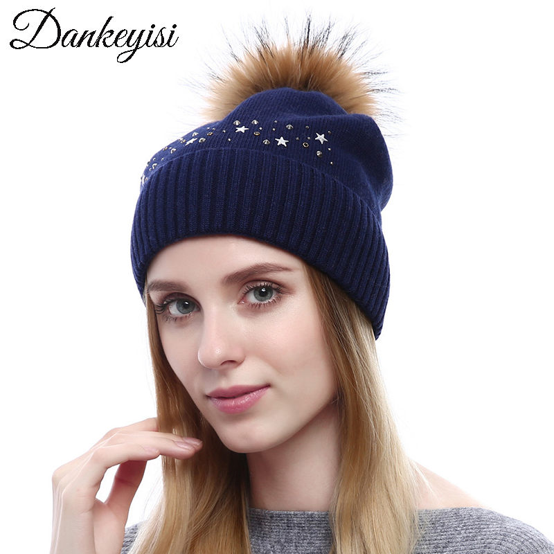 DANKEYISI Real Raccoon Fur Pompom Hat Female   Beanie   Women Cashmere Kintted   Skullies     Beanies   Winter Rhinestone Hats Bonnet Cap