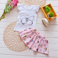 2016 Hot Selling Summer Baby Girls Clothing Set Short-sleeved T-shirt+tutu Skirt Sets Toddler Girls Cute 2pcs Suit Kids Clothes