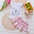2016 venta caliente del verano del bebé que arropan el sistema corto manga camiseta + falda del tutú establece las muchachas del niño lindo 2 unids adapta a la ropa