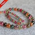 Ожерелье 6-14 мм Многоцветный Турмалин бусы Джаспер Круглый Ожерелье женщины девушки подарок камни 18 inch дизайна Ювелирных Изделий оптовая