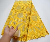 Luxury African Yellow Lace Fabric High Quality embroidered Velvet Lace Fabric Embroidered beautiful french tulle lace fabrics