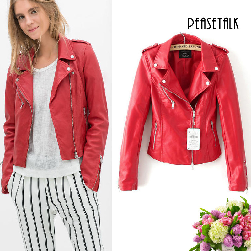 New fashion red jacket new 2015 bomber motorcycle Leather jackets ...
