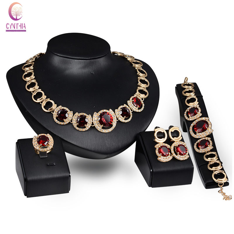 Fine Jewelry Set Gold color Red Green Zircon Pendant Fashion Austrian Crystal Necklace Bracelet Ring Earrings Wedding Party Set