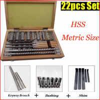 Keyway Broach Set 22pcs Metric Size B Type 4mm 5mm + C Type 6mm 8mm & 13pcs Bushing Sleeve & 5pcs Shim Kit Metalwoking Tool