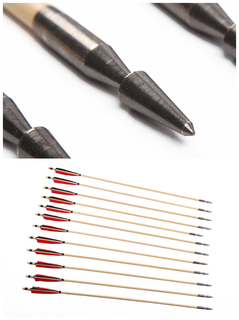 ФОТО Longbowmaker 12PK Self Nock Red And Black Turkey Feathers Cedar Wood Hunting Broadheads Arrows SW2RBTJ