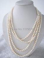 Women jewelry wholesale cheap high quality fashion 7-8mm white Akoya cultured pearl shell necklace Mother's Day gifts 100 W0039