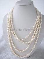 Monili delle donne all'ingrosso a buon mercato di alta qualità di modo 7-8mm bianco akoya della perla della collana di conchiglie Festa della Mamma regali 100 W0039