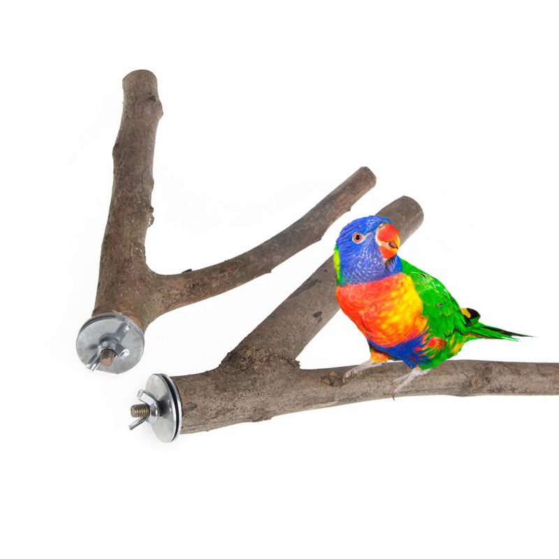 Wood Bird Toys : Pc pet parrot raw wood fork stand rack toy hamster branch