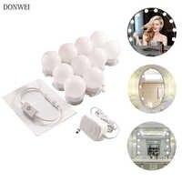 10 pçs maquiagem espelho vaidade lâmpadas led lâmpada kit compõem espelhos cosméticos luzes 3 níveis de brilho ajustável para maquiagem