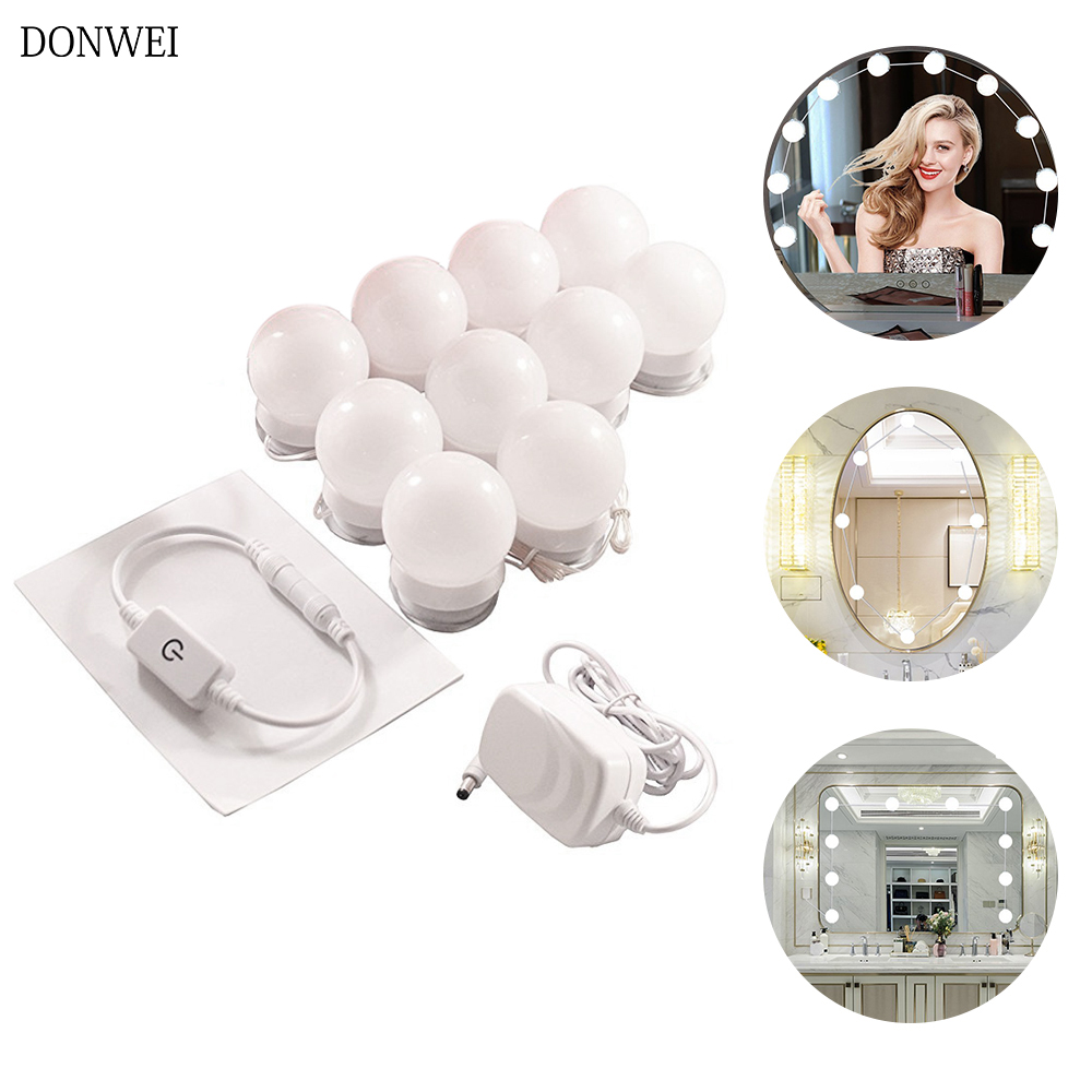 10Pcs Makeup Mirror Vanity LED Light Bulbs lamp Kit Make up Mirrors Cosmetic lights 3 Levels Brightness Adjustable for Make-up