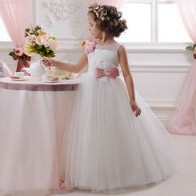 2017 Hot Sale New Lovely Tulle Ball Gown Flower Girl Dress for Weddings Crystals Bow Little Girls Pageant Gown Party Dress FH98