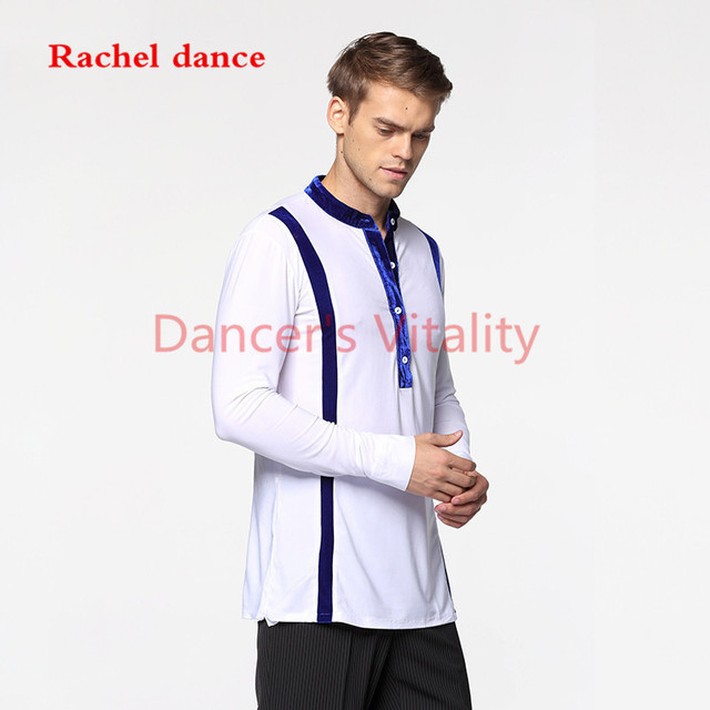 Long Sleeve Button Mens Latin Shirts Dance Top Ballroom Dancewear Latin Dance Costumes Stage Clothing For Men Ballroom Clothes