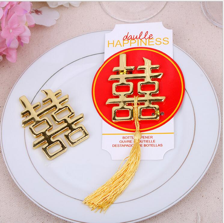 100 PCS wedding favor gift and giveaways for guest Chinese Asian themed double happiness bottle opener