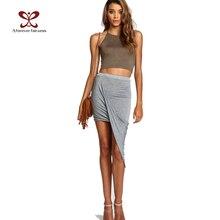 2017 Summer Women Skirt Hem Cross Fold Sexy Wrap Banded Waist Draped women skirt Cut Out Asymmetrical Pencil Skirts jupe XS-XXXL