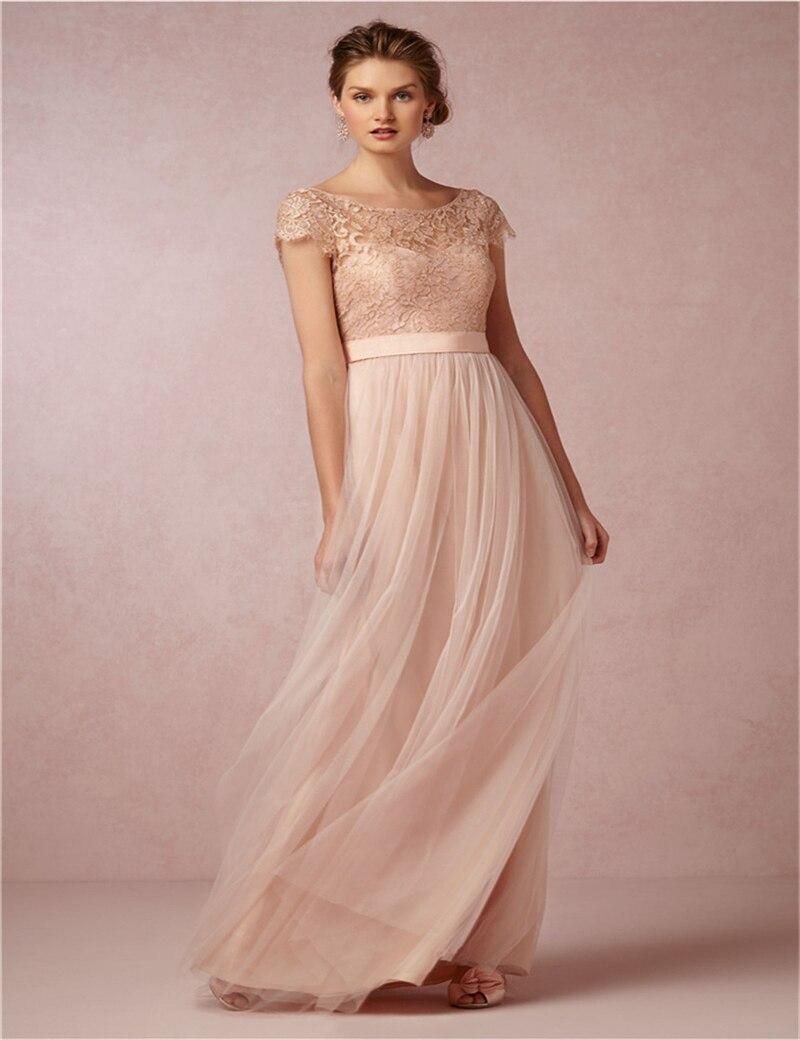 Elegante fiesta vestido largo 2015 damas de honor vestido de gasa ...