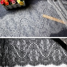 6M / Lot Eyelash Lace Fabric 30cm DIY Dekorativno Visokokvalitetno Meko Off Bijelo Crno Nylon Eyelash Lace Trim vjenčanica Fabric