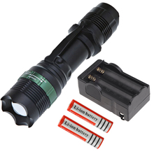 Q5 LED 800LM Flashlight Torch Light Camping Lamp 2pcs 18650 Rechargeable Li ion Battery Charger for