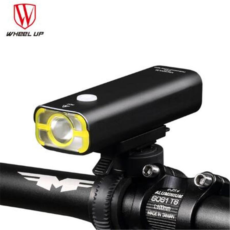 ROUE UP Usb Rechargeable Lumière De Vélo Avant Guidon Vélo Led Lumière Batterie lampe de Poche Torche Phare Vélo Accessoires dans Vélo lumière de Sports et loisirs