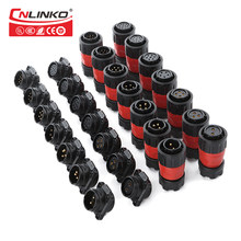 Cnlinko 1 / 4 Bayonet Connection M20 5-20A Power 2-12 pin Waterproof IP67 Panel Connector With Cover For Mechanical Equipment