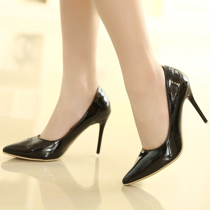 Бесплатная доставка 10 см сексуальная обувь на высоком каблуке 5-14-черный