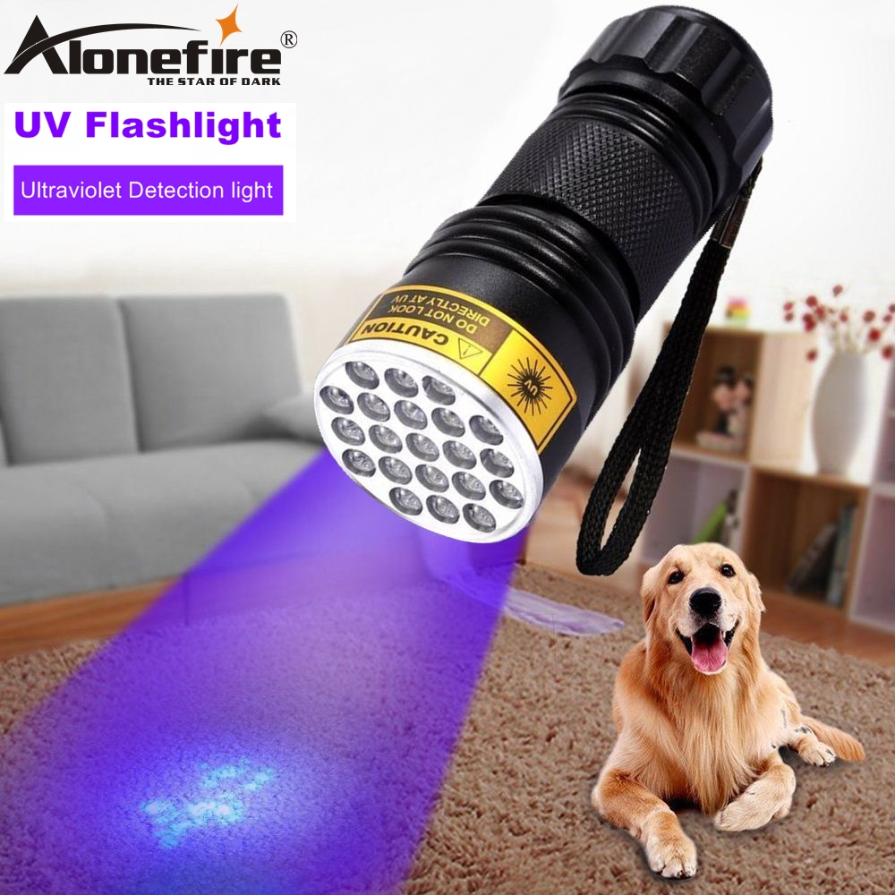 AloneFire High quality 21 LED UV Light 395-400nm LED Flashlight adhesive Money Travel safety UV detection lamp AAA Dry cell