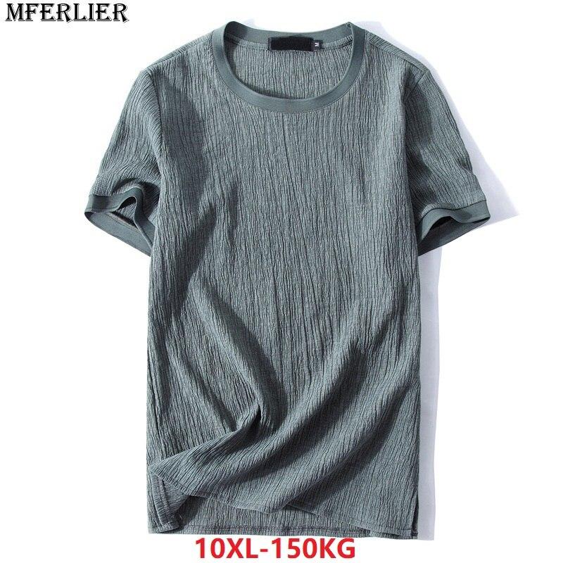 MFERLIER summer 2018 men T-shirts 9XL 10XL cotton short sleeve plus size big larger 7XL 8XL t-shirt simple Vintage black thin