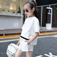 2018 Children's Summer Clothing Suit Girls Cotton Loose Clothes 2 Pcs Set Child Short Sleeved Tops + Shorts Kids Sportswear A162