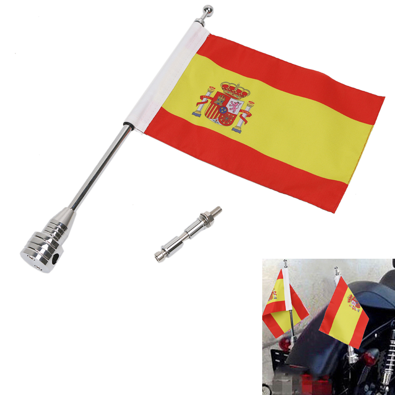 Motorcycle Bike Rear Luggage Rack Spain Spanish Flag with Steel Pole Mount For Harley Touring Sportster Dyna Softail #MBG030-SN motocycle cnc aluminum rear side mount luggage rack vertical flag pole american for harley touring road king glide