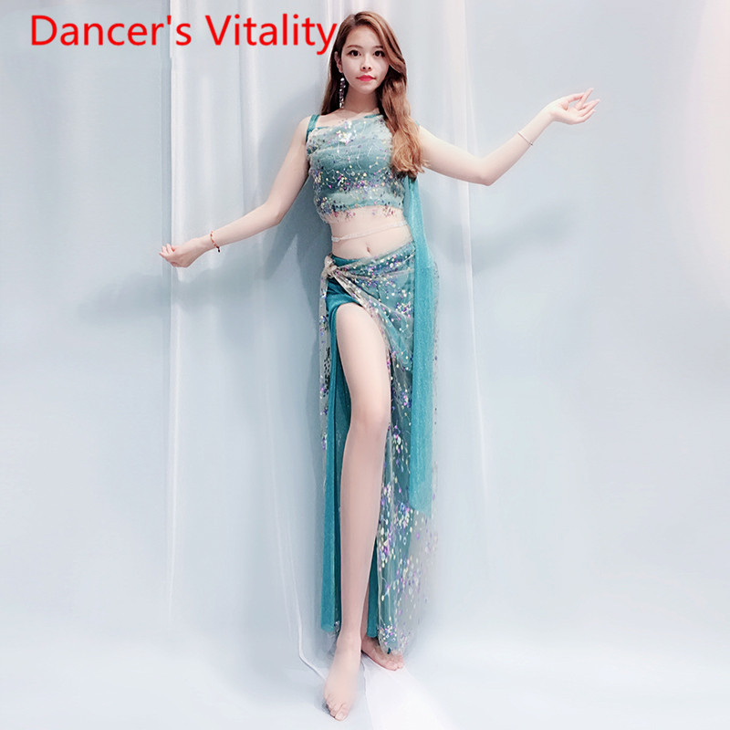 Image 5 - bell dance suit top + skirt 2pcs clothes Coloured Beaded embroidered shoulder Fairy  clothing Costume 4 style belly dance set-in Belly Dancing from Novelty & Special Use