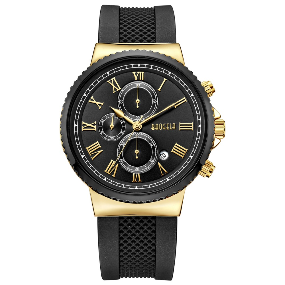 BAOGELA TOP Brand Mens Luxury Quartz Watch Men Chronograph Sport Wristwatch Male Waterproof  Masculino Fashion Movement Gold