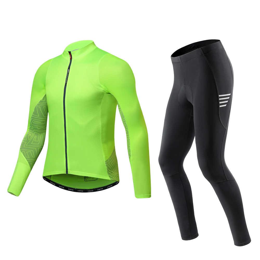 Santic erkekler bisiklet setleri bisiklet takım elbise spor uzun kollu Jersey uzun pantolon giyim seti MTB dağ bisiklet giysileri