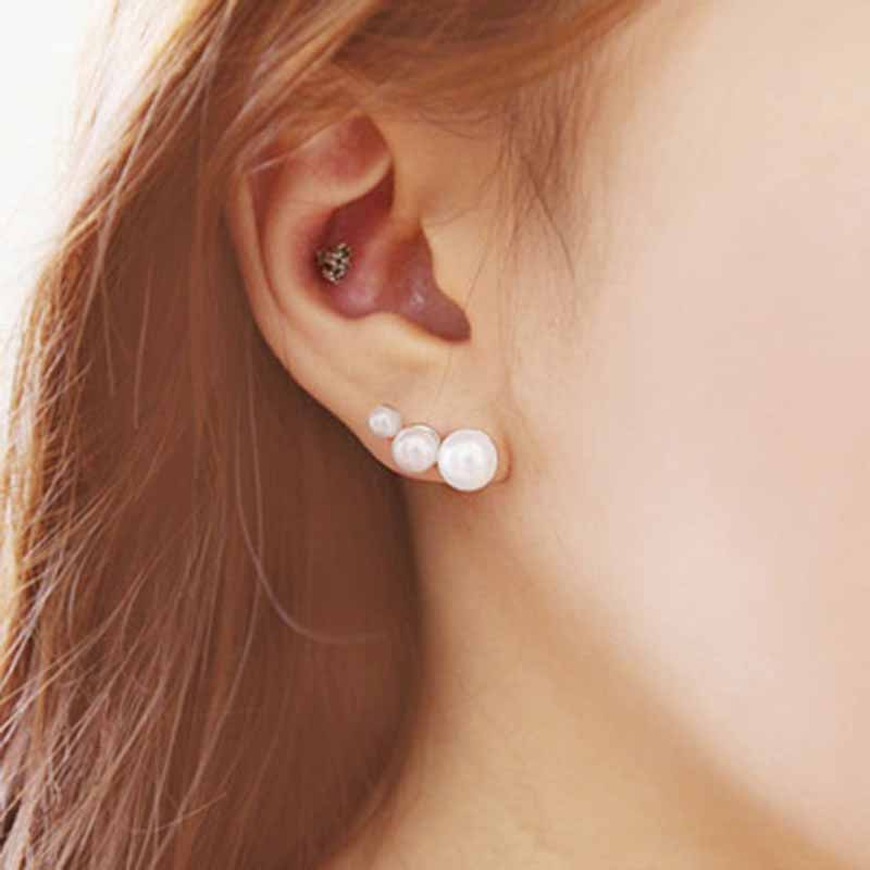 Fashion Earrings For Women 2019 Statement Korean Han Edition Trendy Vintage Three Pearl Pearl Women 39 S Stud Earrings QW 46 in Stud Earrings from Jewelry amp Accessories