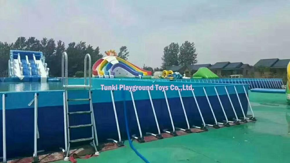 Large Mobile Outdoor Above Ground Metal Tube Frame Pvc Swimming Pool
