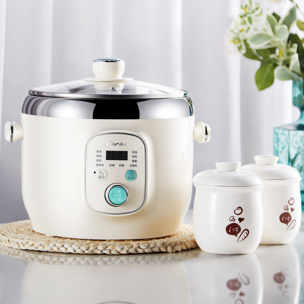 Stainless Steel Inner 220V Automatic Electric Multifunctional Stewing Pot Machine EU/AU/UK High Quality Bear Brand Multi Cooker